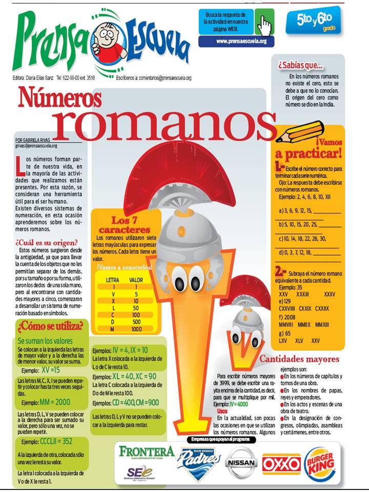 Numeros Romanos 5to Y 6to Grado